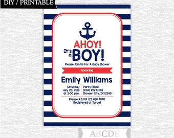 Red and Navy Nautical Baby Shower invitation, Nautical Baby Shower DIY Printable (PDNRE002)