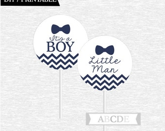 Instant Download Navy Chevron Bow Tie Little Man Cupcake Toppers, Little Man toppers, DIY Printable (PDMSI102)