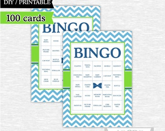 Instant Download Baby Shower BINGO, Blue, Green Bow Tie shower Game, Little man Baby shower Bingo 100 Cards DIY Printable (PDLM004)