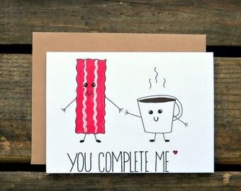 Coffee & Bacon Paleo/Crossfit/Beachbody/Bulletproof Diet Anniversary/Valentines Day Card