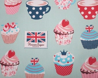 Sale - Half Yard, Lecien Flower Sugar Maison 2015, Cotton Oxford Fabric, Teacups and Cupcakes in Mint 40565 60