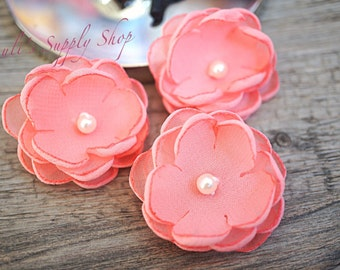 "Set of 3 Coral 1.5"" Chiffon Flowers w/ Pearl Center - Petite flower - Chiffon Flower - Fabric Flower - wholesale flowers - Headbands Supply"