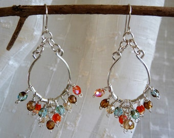Silver Hoop Earrings with Multi Colored Crystal Beads