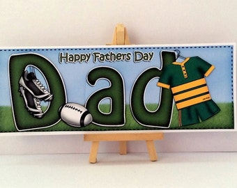 Dad Rugby Card * Rugby Fathers Day Card * Fathers Day Dad Card * Handmade Card * Dad Fathers Day Card * Happy Fathers Day * Rugby Card *