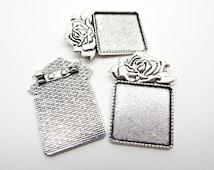 3 Brooch Settings, Silver Brooch Base, Cabochon Brooch, Antique Silver, Brooch Blanks, Square Bezel Setting, Silver Rose Brooch, UK Seller