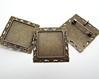 3 Brooch Settings, Bronze Brooch Base, Cabochon Brooch, Pendant Brooch, Brooch Blanks, Square Bezel Setting, Square Pendant, UK Seller