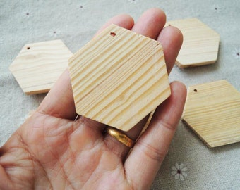 8Pcs 50mm  Natural Pine Wood hexagon  No Varnish (NW068)