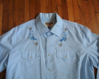 Vintage 80s Youngbloods Embroidered Western Shirt XL