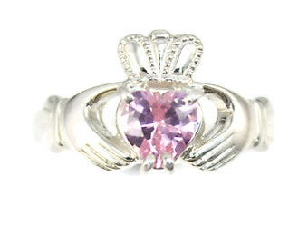Ladies claddagh ring, sterling silver real Irish jewelry with sparkling Pink Cubic Zirconia