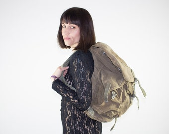 Vintage Backpack | Military Surplus Large Bag | Distressed Field Pack