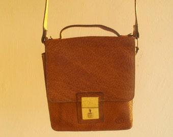 Mens Real Leather Bag/Vintage Messenger Shoulder Bag/1980s