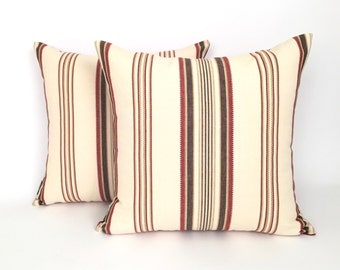 Striped Red, Cream and Brown with a hint of Gold Throw Pillow, P-2-115