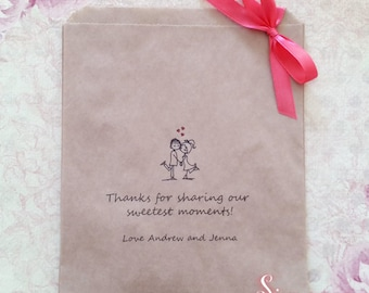 Personalised Sweetest Moments Kraft Brown Paper Candy Buffet Lolly Bags x 50