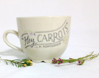 Anne of Green Gables Quote Mug   Wheel thrown   Ceramic   Pottery   Hey Carrots   Green   READY TO SHIP