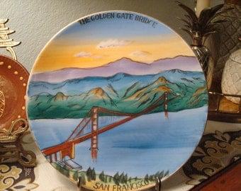 Vintage Hand Painted Souvenir Golden Gate Bridge San Francisco Plate - Excellent Vintage Condition!!