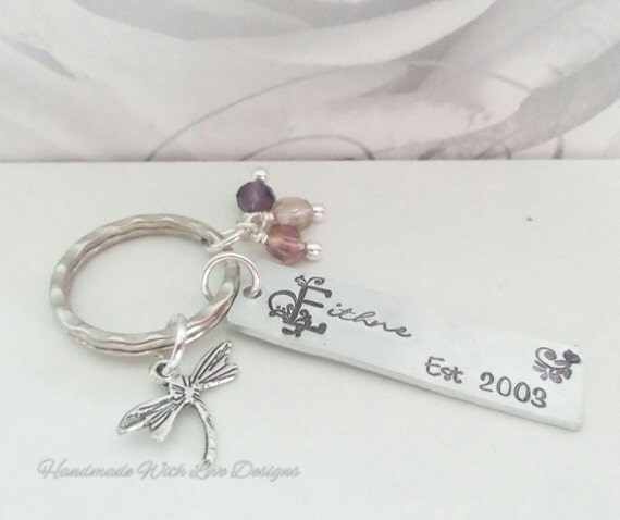 Stamped name keyring, personalised name keychain, wedding gift, custom metal keychain, personalised surname, handstamped family name