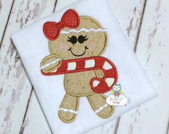 Girl Gingerbread with Candy Cane Shirt or Bodysuit, Girl Christmas Shirt, Christmas Shirt, Gingerbread girl shirt