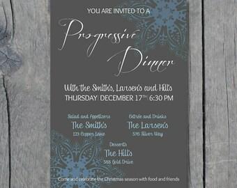 5 x 7 Progressive Dinner Party Invitation