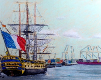 """Original Oil Pastel Painting, 11,8"""" x 9,4"""", Small size art, Plein Air Painting, French ship L'Hermione in Las Palmas, seascape, wall decor"""