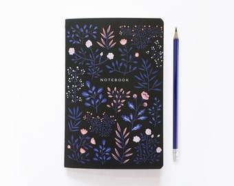 Bullet Journal |  A5 Notebook - Moon Flowers  |  Floral Notebook  |  Bujo Pages