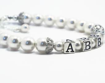 Name Bracelet, Pearl Bracelet, Baptism Bracelet, Girls Jewelry, Christening Bracelet, Baby Shower Gift, Kids Jewelry, Baby Gift, (B123-33)