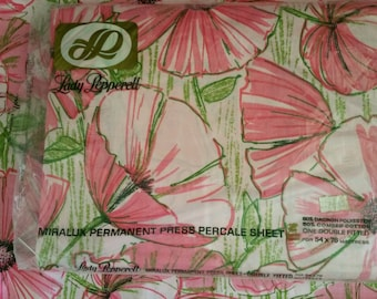 Vintage Lady Pepperell PINK Full Fitted Bottom Sheet & 2 Pillow Cases Amapola Flowers