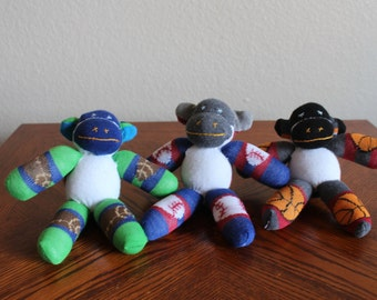 Handcrafted Baby Sock Monkeys - Sports