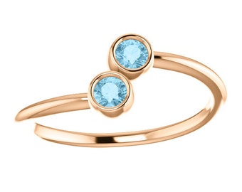 Aquamarine 14k Rose Gold, Stacking Ring, Made to Order, Dual Stone, March Birthstone