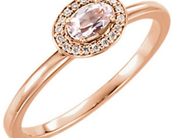 Morganite and Diamonds 14K Rose Gold Ring, Made to Order, Halo Ring