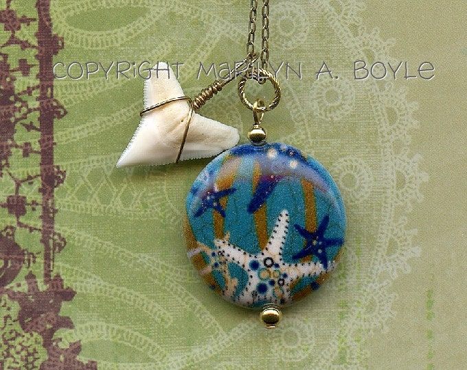 UNDER The SEA PENDANT - Stone with starfish on it and a shark's tooth, nature, jewelry, pendant
