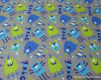 Flannel Fabric - Nighttime Monsters - 1 yard - 100% Cotton Flannel