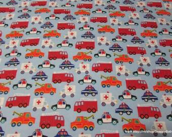 Flannel Fabric - Emergency Trucks - By the Yard - 100% Cotton Flannel