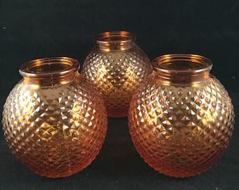 Set of 3 Small Vintage Orange Hobnail Glass
