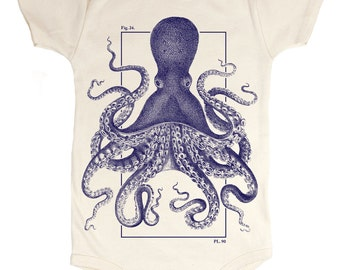 Octopus Baby Bodysuit | Marine Biology, Ocean Science, Kraken, Organic Onesie, Cephalopod, Deep Sea, Exploration