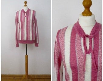 STOREWIDE SALE Vintage 70s 80s Pink and White Stripe Sweater Top - M L