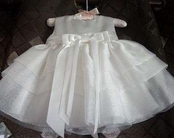 Beautiful White Shantung and Shimmering Organza Infant Christening/Blessing/Baptismal Dress with Panties