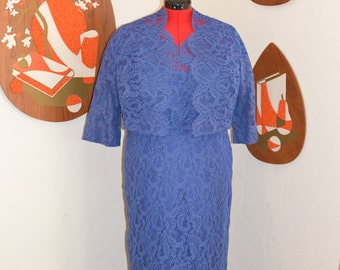 Womens Vintage 1950s Periwinkle Blue Scalloped Lace Pencil Dress with matching Bolero Jacket VOLUP XL XXL