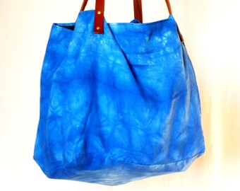 linen tye and dye Blue, anse leather tote