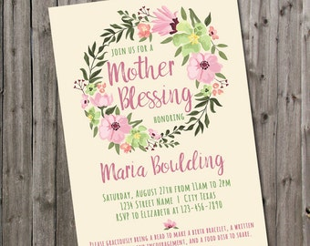 Blessingway Invitation Mother Blessing Invite Blessing Way Pink Flower Wreath Baby Shower Alternative Homebirth Natural Birth Watercolor
