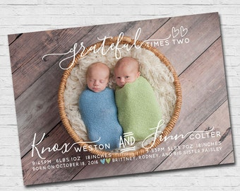 Twin Birth Announcement Modern Twins Birth Announcement Modern Twin Announcement Boys Girls Photo Card Printable Grateful Times Two Blessed
