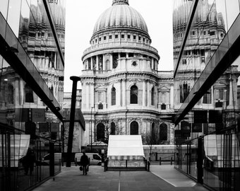 St Pauls Cathedral 18 x 12 inch print Black and White London landmark One New Change reflection 18x12