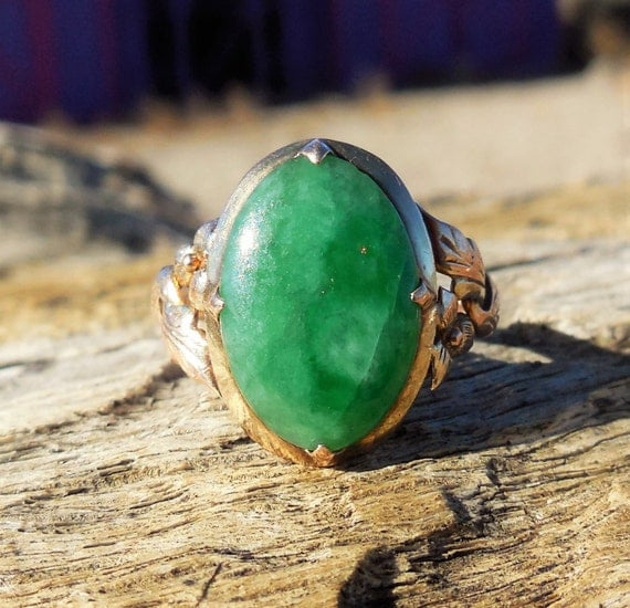 vintage antique jade 14k rose gold unique engagement. Black Bedroom Furniture Sets. Home Design Ideas