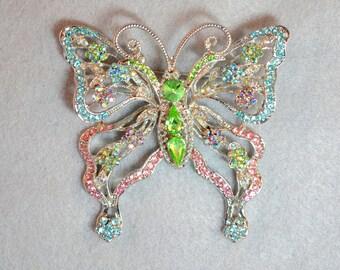 Huge Butterfly Brooch Vintage