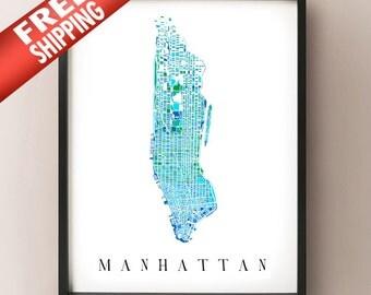 Manhattan Colored Art Map - New York City Neighborhood - NYC, Central Park