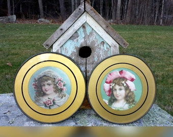 Antique Flue Covers Victorian 1900's Set Of 2