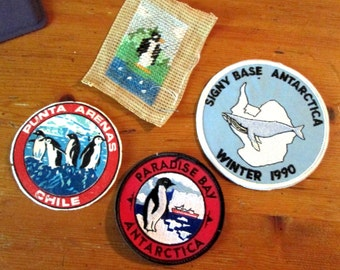 Two Antarctic Patches, One from the Tip of Chile and tiny Needlepoint Penguin