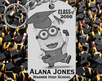 MINION with Grad Cap, Graduation Keychain Gift, Engraved and Personalized Free! Ships Fast