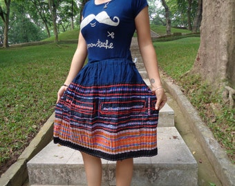Vietnam Hmong Cotton/Polyester Embroidered Hemp Skirt