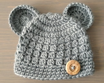 Grey Baby Bear Hat, Newborn Bear Hat, Crochet Bear Beanie, Baby Bear Beanie, Baby Boy Hat, Baby Girl Hat, Newborn Photo Prop, Hats with Ears