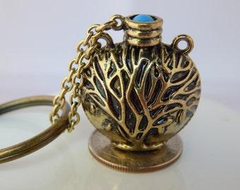 Tree of Life Flask Keychain, Family Tree gift, Genealogist Stocking Stuffer, Sacred Tree, World Tree, Religious Gift for Him/Her, Bodhi Tree